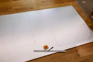 foam board marked for cutting