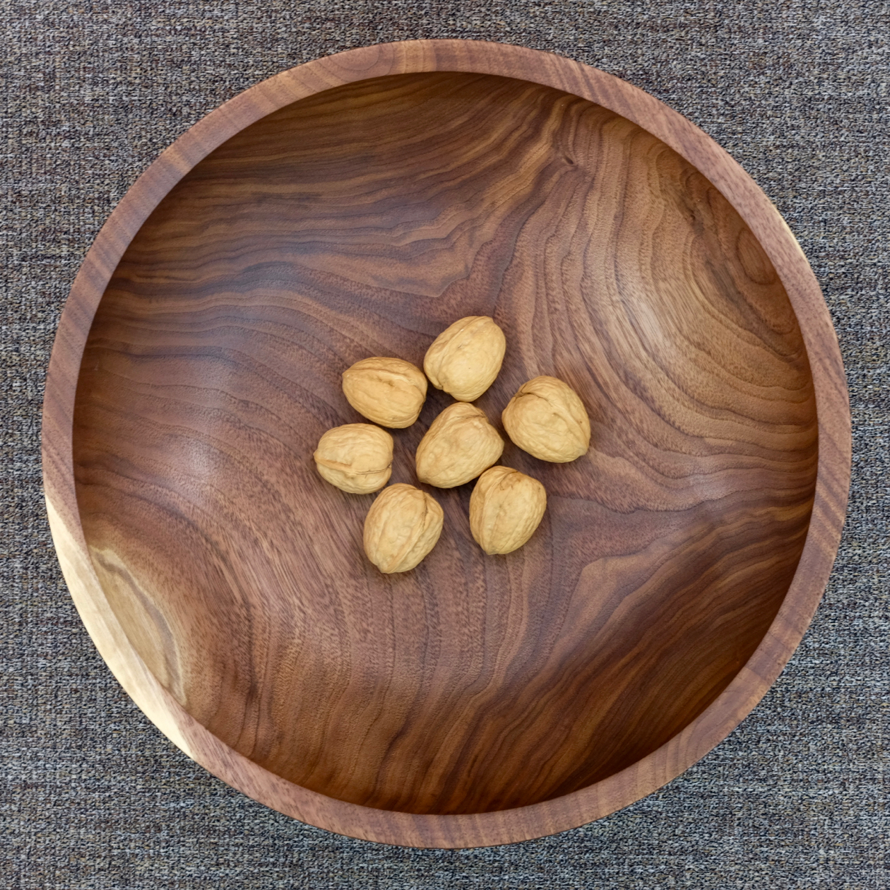 Black walnut bowl with walnuts
