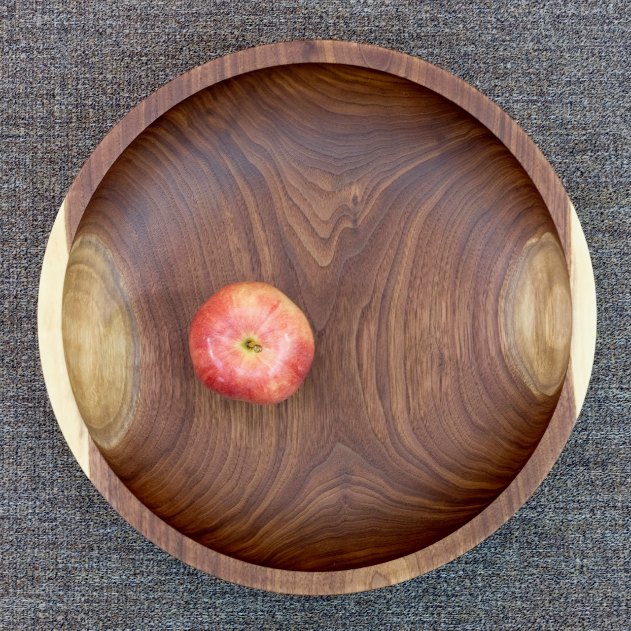 Black walnut bowl with apple